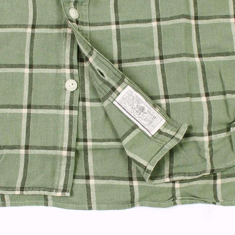 RRL Ralph Lauren (ダブル アールエル ラルフローレン)  FARRELL WS LONG SLEEVE SPORT SHIRT CTN LINEN TWILL PLD - MEDIUM GREEN 310