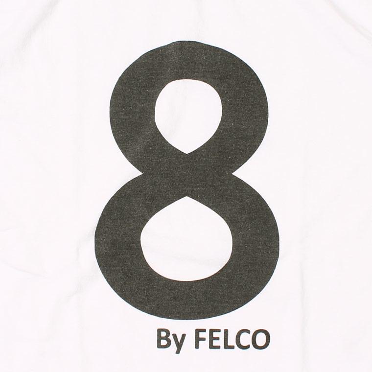FELCO (フェルコ) S/S HI CREW T-SHIRT 30s USA COTTON w/PRINT NO.8 - WHITE_BLACK