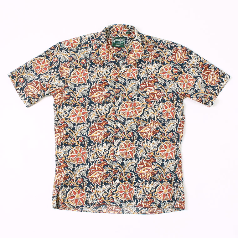 GITMAN VINTAGE (ギットマンヴィンテージ) S/S OPEN COLLAR FLORAL BLOCK PRINT SHIRT w/POCKET - NAVY