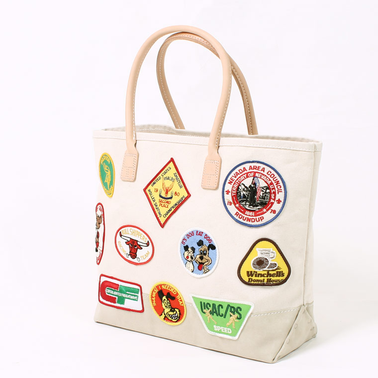 HERITAGE LEATHER (ヘリテイジレザー) VINTAGE PATCH DAY TOTE - NATURAL_SAND SUEDE E