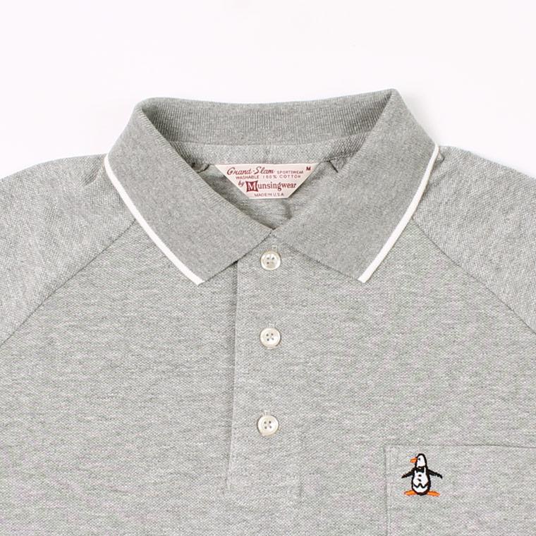 Munsingwear (マンシングウェア)  60'S RAGLAN SLEEVE TIPPED COLLAR POLO - GREY HEATHER