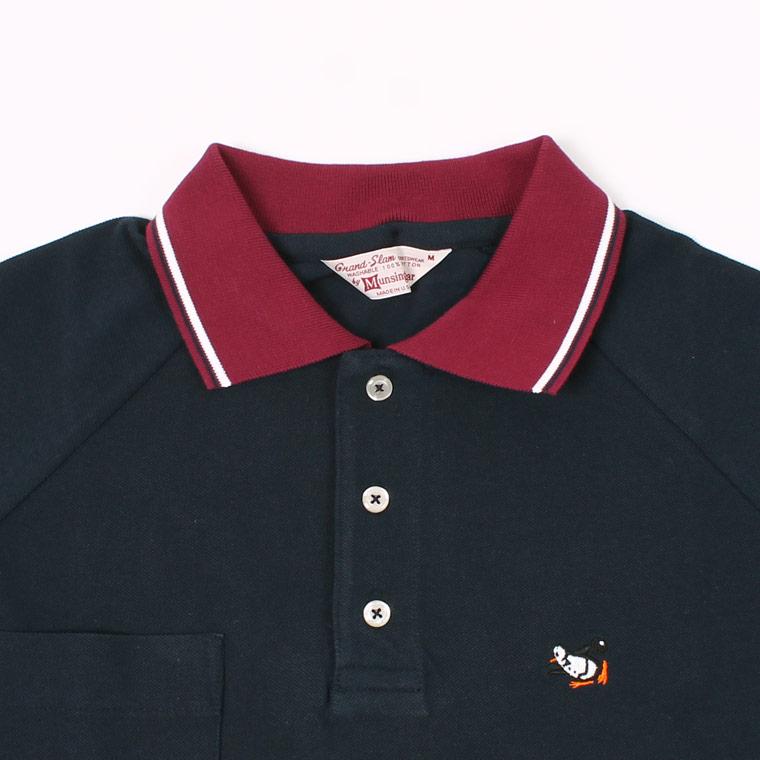 Munsingwear (マンシングウェア)  60'S RAGLAN SLEEVE CLERIC TIPPED COLLAR POLO BOWLING PENGUIN - NAVY